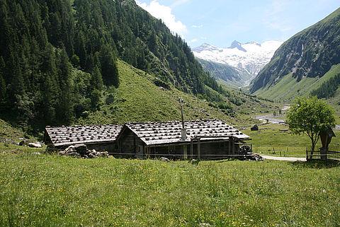 Traditionell gedeckte Almgebaeude im Habachtal